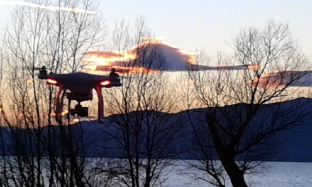 Drone al tramonto